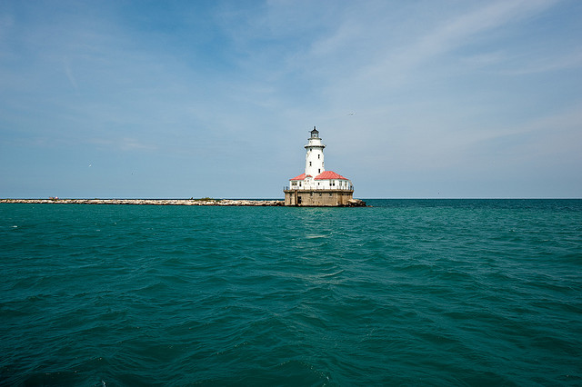 Lighthouse in Lake Michigan
